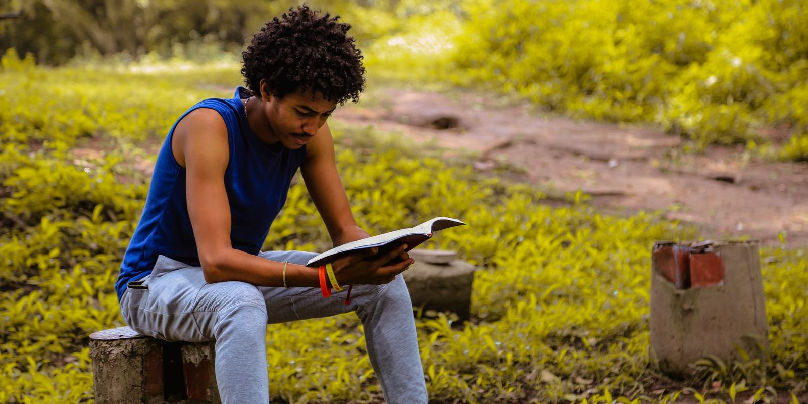 man wearing blue shirt sitting on the bench reading book